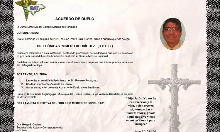 ACUERDO DE DUELO - DR. LEÓNIDAS ROMERO RODRÍGUEZ (Q.D.D.G.)