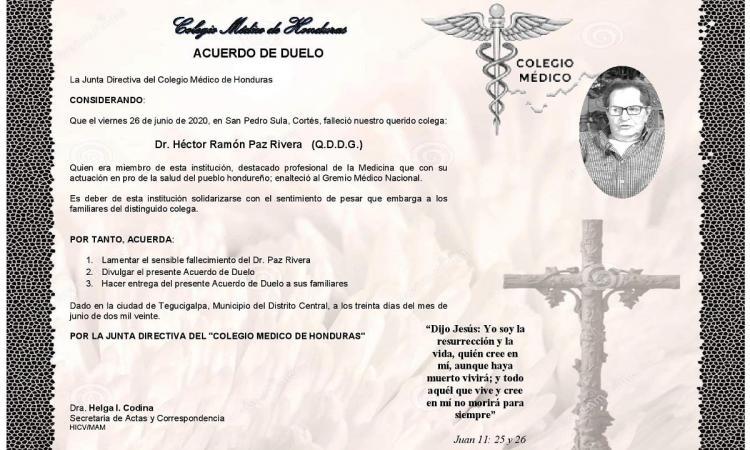 Obituario Dr. Héctor Ramón Paz Rivera