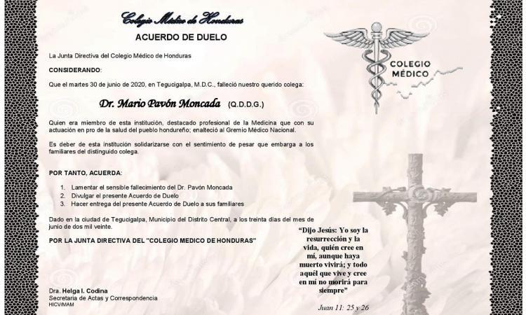Obituario Dr. Mario Pavón Moncada